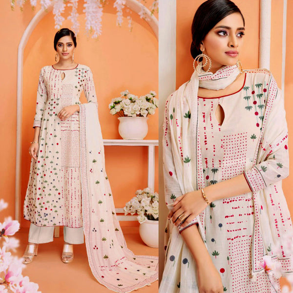 DULL WHITE-RUBY PINK DESIGNER PRINTED COTTON UP TO READY SIZE 64 UNSTITCHED SALWAR KAMEEZ SUIT DRESS MATERIAL w EMBR LADIES DEN - Ladies Den