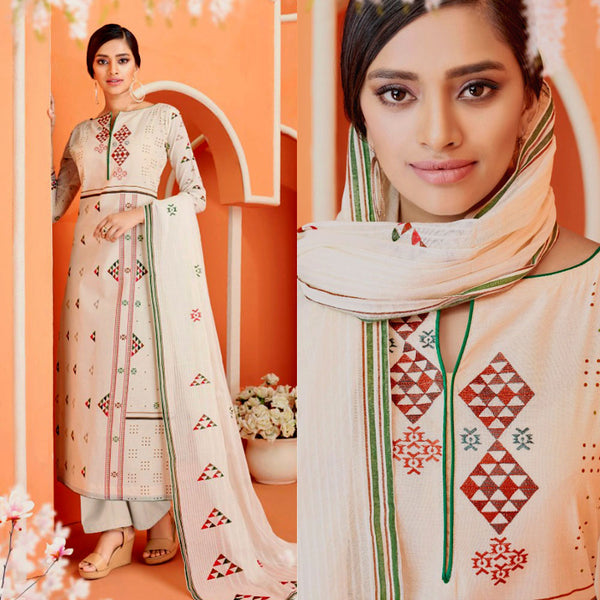 CREAM-ORANGE DESIGNER PRINTED COTTON UP TO READY SIZE 64 UNSTITCHED SALWAR KAMEEZ SUIT DRESS MATERIAL w EMBR LADIES DEN - Ladies Den