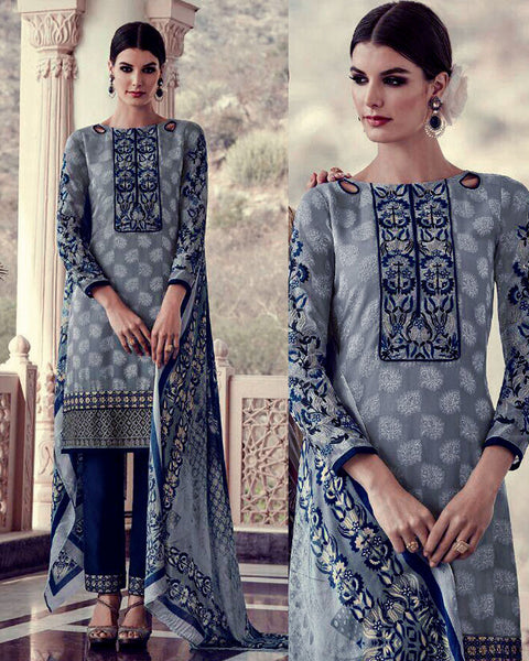 STEEL GRAY-NIGHT BLUE JACQUARD GEORGETTE UNSTITCHED SALWAR KAMEEZ SUIT DRESS MATERIAL w EMBR LADIES DEN