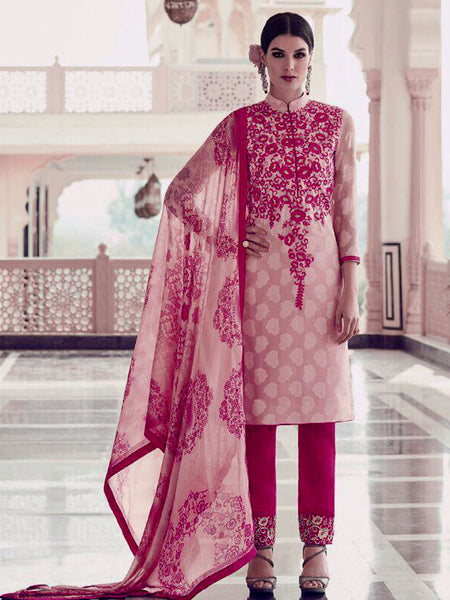 PALE BABY PINK-DEEP PINK JACQUARD GEORGETTE UNSTITCHED SALWAR KAMEEZ SUIT DRESS MATERIAL w EMBR LADIES DEN