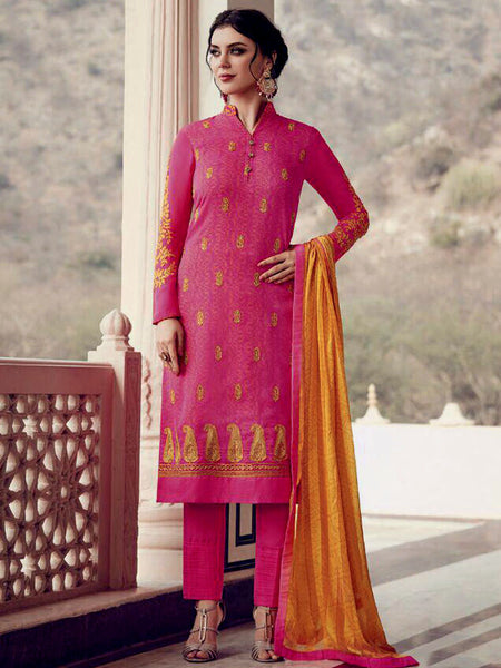 FUCHSIA PINK GEORGETTE CHIFFON UNSTITCHED SALWAR KAMEEZ SUIT DRESS MATERIAL w EMBR LADIES DEN - Ladies Den