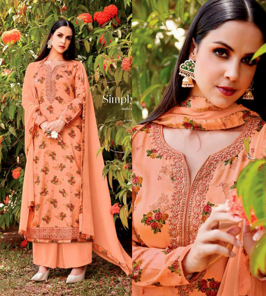 PASTEL ORANGE PRINTED SATIN COTTON UP TO READY SIZE 58 UNSTITCHED SALWAR KAMEEZ SUIT DRESS MATERIAL w EMBR LADIES DEN