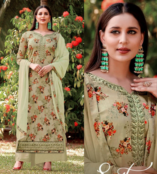 PALE CARDAMOM GREEN PRINTED SATIN COTTON UP TO READY SIZE 58 UNSTITCHED SALWAR KAMEEZ SUIT DRESS MATERIAL w EMBR LADIES DEN