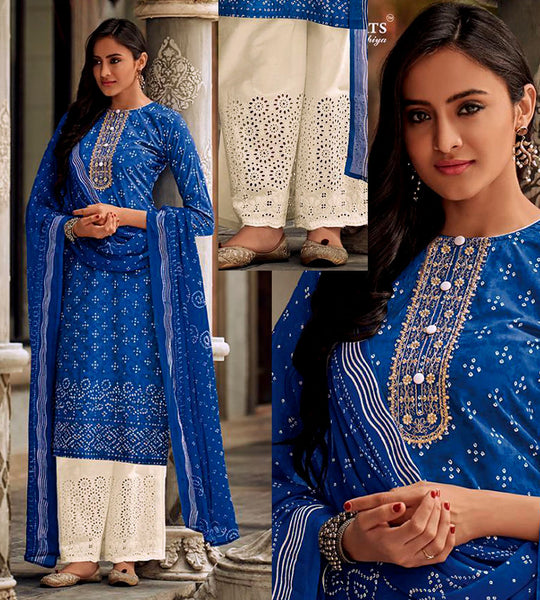 INDIGO BLUE-CREAM BANDHINI STYLE PRINTED SATIN COTTON UNSTITCHED SALWAR KAMEEZ SUIT DRESS MATERIAL w CUT WORK LADIES DEN