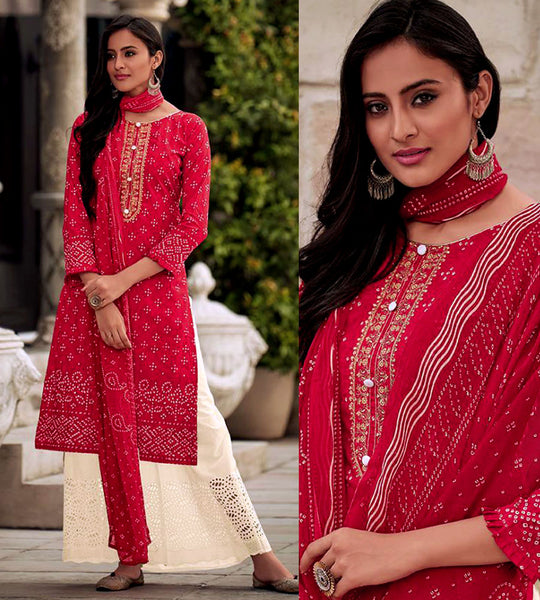 CHERRY RED-CREAM BANDHINI STYLE PRINTED SATIN COTTON UNSTITCHED SALWAR KAMEEZ SUIT DRESS MATERIAL w CUT WORK LADIES DEN - Ladies Den