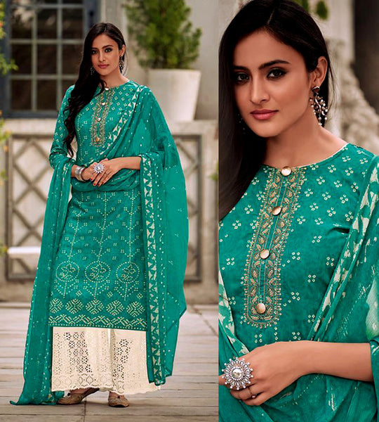PEACOCK GREEN-CREAM BANDHINI STYLE PRINTED SATIN COTTON UNSTITCHED SALWAR KAMEEZ SUIT DRESS MATERIAL w CUT WORK LADIES DEN