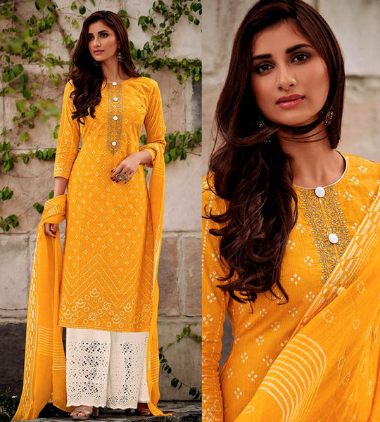 YELLOW-CREAM BANDHINI STYLE PRINTED SATIN COTTON UNSTITCHED SALWAR KAMEEZ SUIT DRESS MATERIAL w CUT WORK LADIES DEN