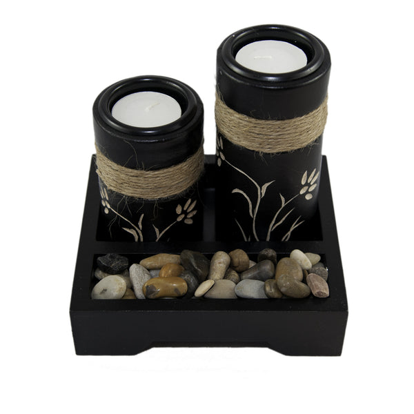 Tea light Candle Holder - Black | JadeSouk