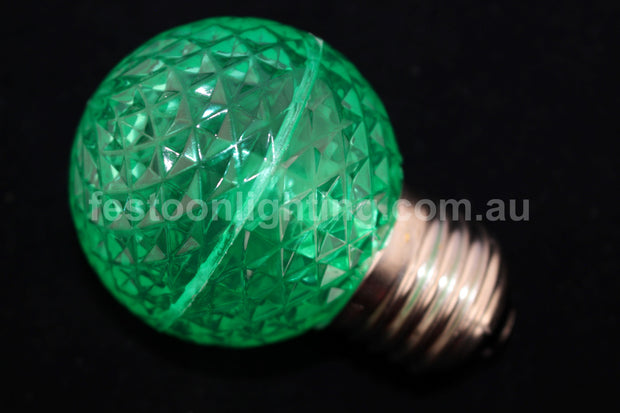 G50 Faceted E27 Decorative Festoon Bulb - Green