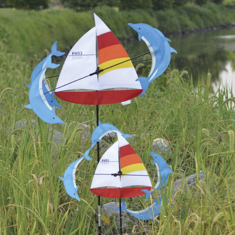 Sailboat & Dolphins 13 Inch Whirligig Wind Spinner