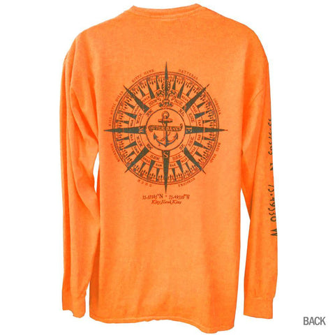Outer Banks Anchor Compass Neon Long Sleeve Tee