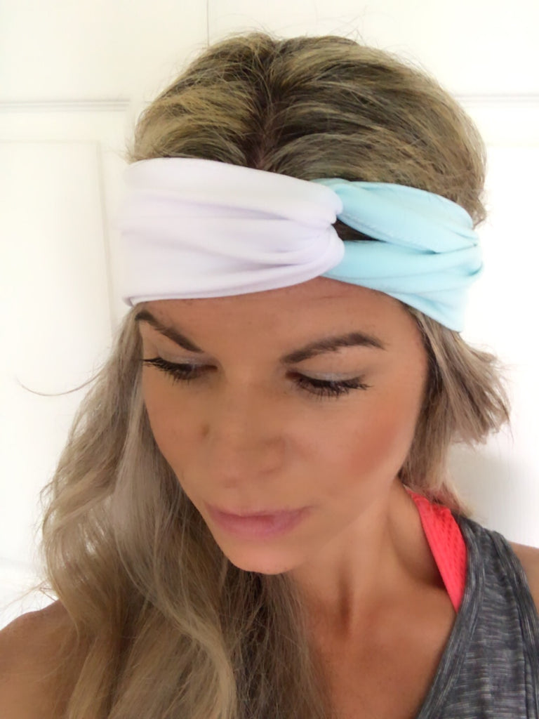 Aquamarine & White Active ~ Headband - Tossy by EM