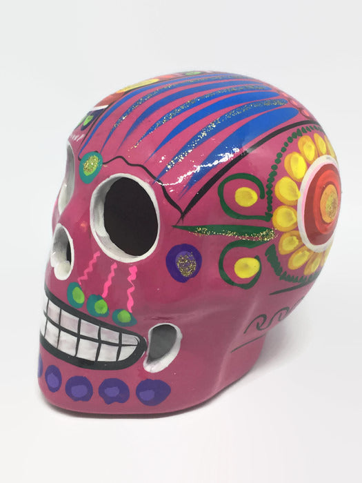 Medium Hand-Painted Pink Ceramic Sugar Skull Glossy (ships in 2-8 weeks)