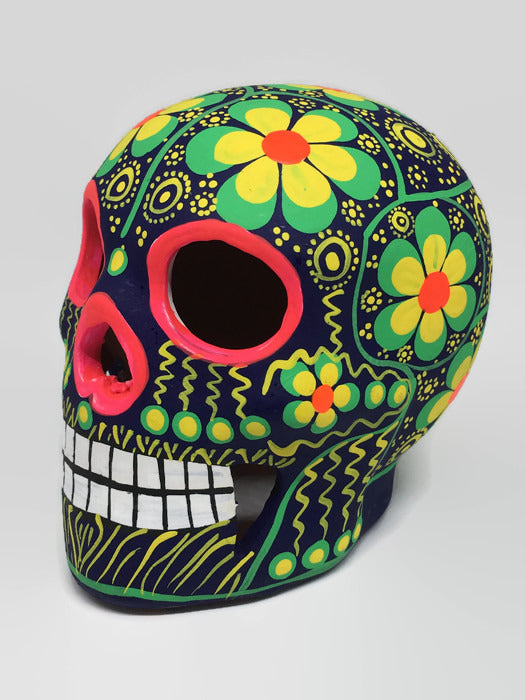 Medium Green and Yellow Flower Ceramic Sugar Skull Matte (ships in 2-8 weeks)