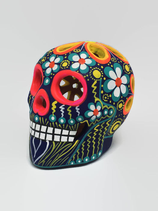 "3.75"" Medium Multi-coloured Flower Ceramic Calavera Matte (ships in 2-8 weeks)"