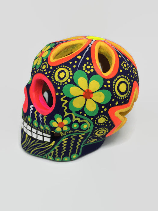 Medium Multi-coloured Flower Ceramic Calavera Matte (ships in 2-8 weeks)