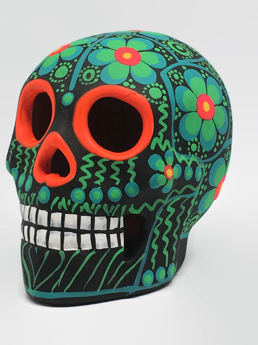 "3.75"" Medium Green Flower Ceramic Calavera, Matte (ships in 2-8 weeks)"