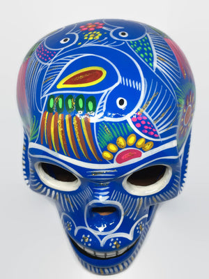 Large Hand-painted Blue Ceramic Calavera, Glossy (ships in 4-8 weeks)