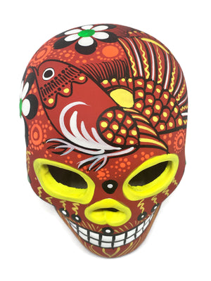 "3.75"" Medium Red Bird Ceramic Calavera, Matte (ships in 2-8 weeks)"