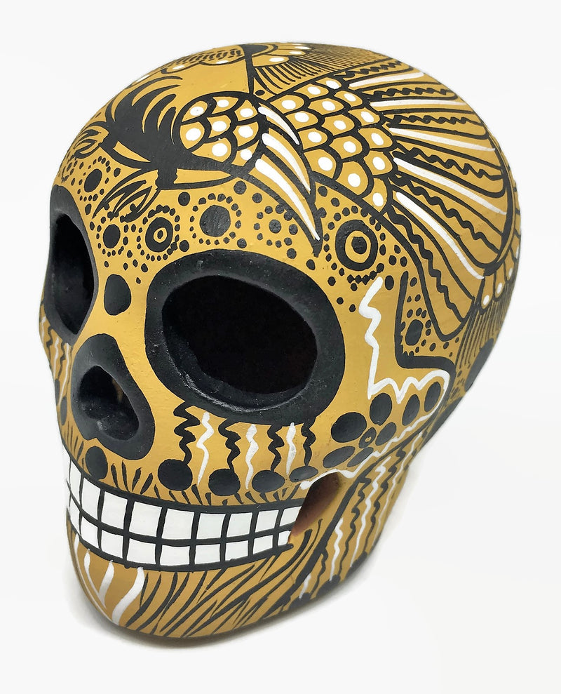 "3.75"" Medium Mustard, Black and White Bird Ceramic Calavera, Matte (ships in 2-8 weeks)"