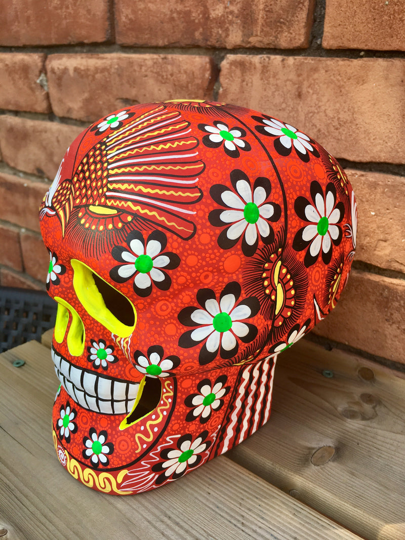 "7"" Hand-Painted Red Ceramic Calavera Matte (ships in 2-8 weeks)"