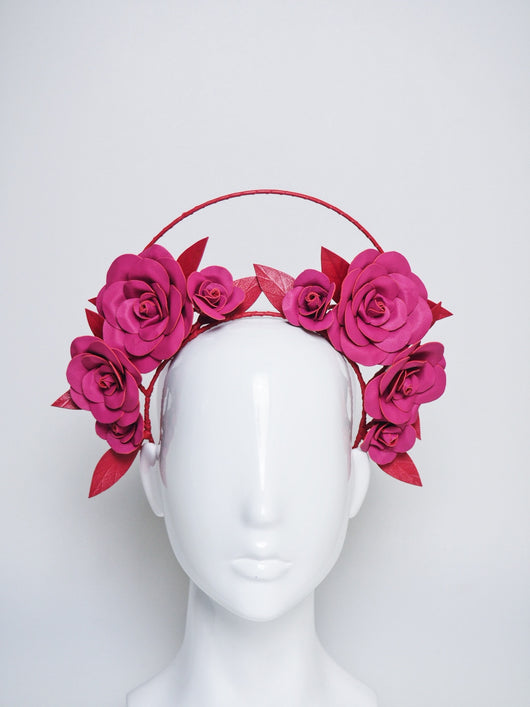 Sweet Love - Red and pink leather rose halo