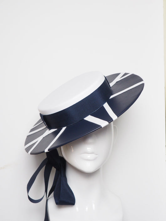 Nautical boater - Navy and white boater with removable rose vine(separate option)
