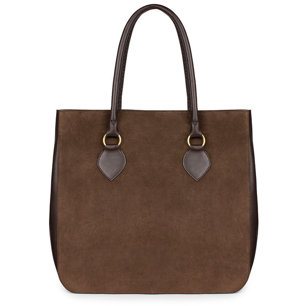 MARLENA TOTE in Chocolate Suede