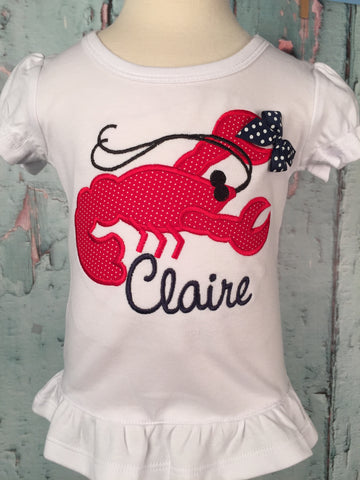 Crawfish Applique Girls Shirt - Just The Thing Shop