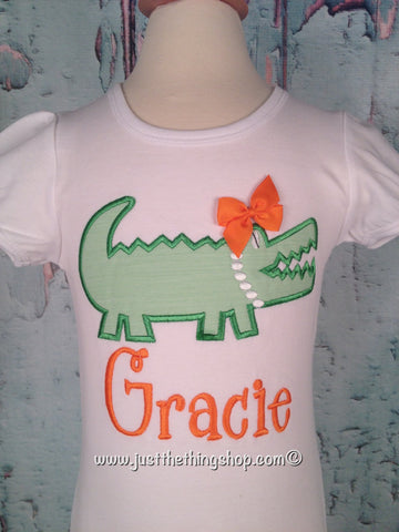 Alligator W/Pearls Applique Girls Shirt - Just The Thing Shop