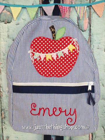 Apple Bunting Applique Backpack - Just The Thing Shop