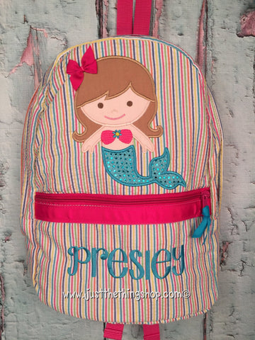 Mermaid 2 Applique Backpack - Just The Thing Shop