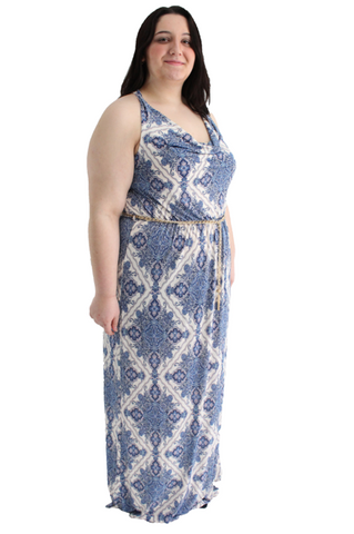 Plus size - Blue Print Maxi with Gold Chain Belt