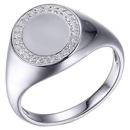 Round Signet Ring with Cz