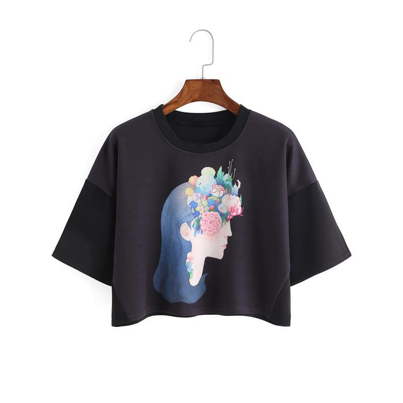 Women of the Earth Print Black Crop Top-w tee-Venture Modern-Venture Modern
