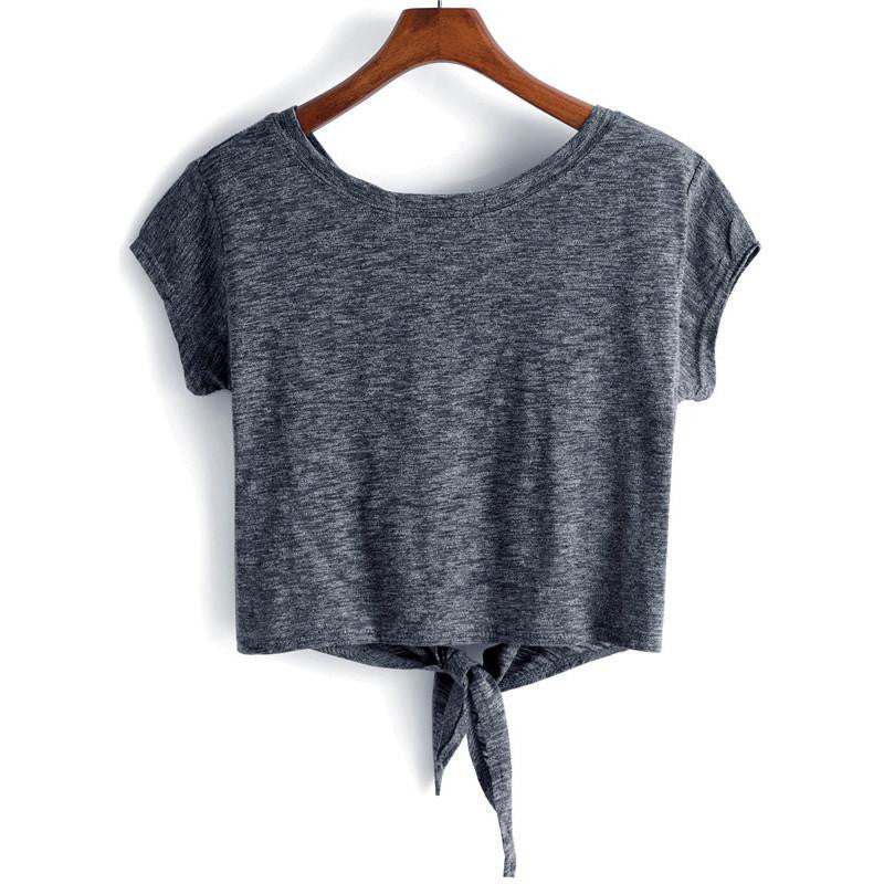Dark Grey w/ Knot Short Sleeve Cropped Top-w tee-ROMWE-Venture Modern