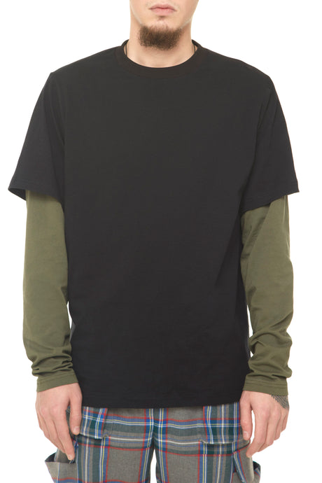 Mens Khaki/Black Longsleeved T-shirt With - krawaii.com