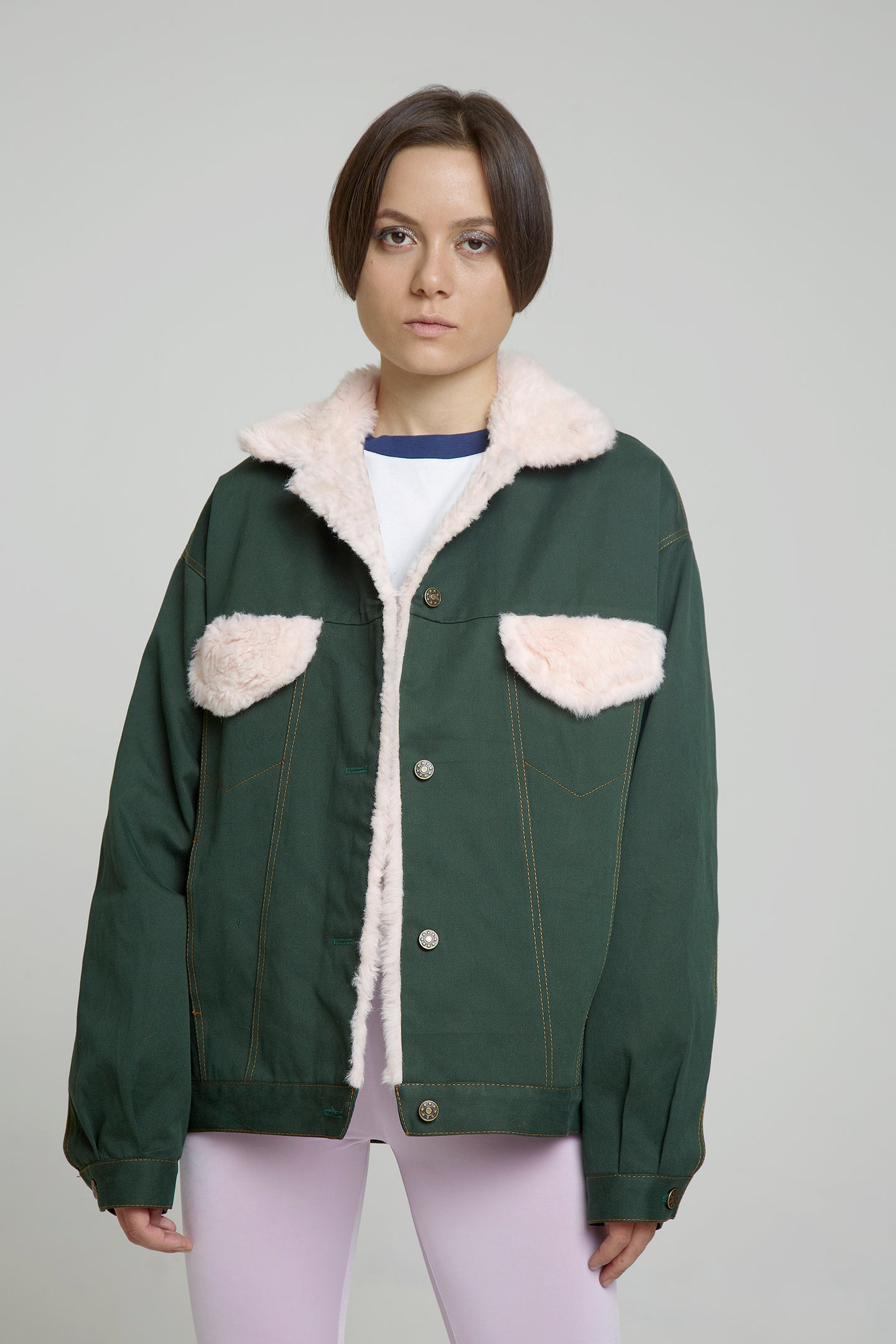 army green denim jacket wit pink faux fur collar and pockets - krawaii.com