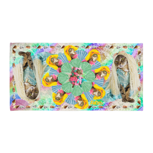 Rainbow Kitty Beach Towel