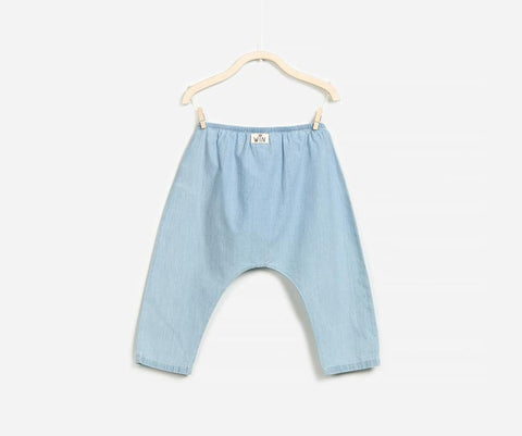 Sky Blue Chambray Trousers, Trousers - Little Pancakes