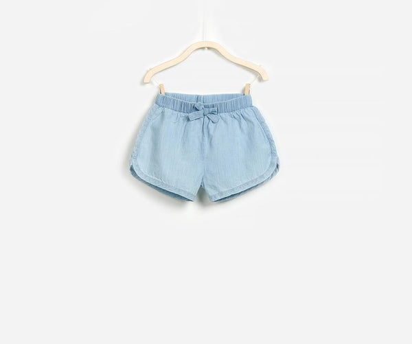 Sky Blue Chambray Shorts, Shorts - Little Pancakes
