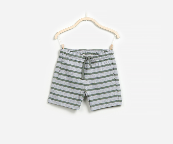 Striped Marine Fleece Shorts, Shorts - Little Pancakes