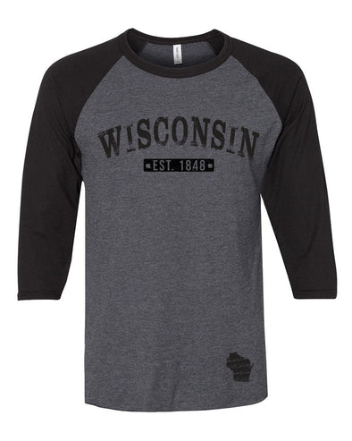 Wisconsin Est 1848 Baseball Tee (Black)