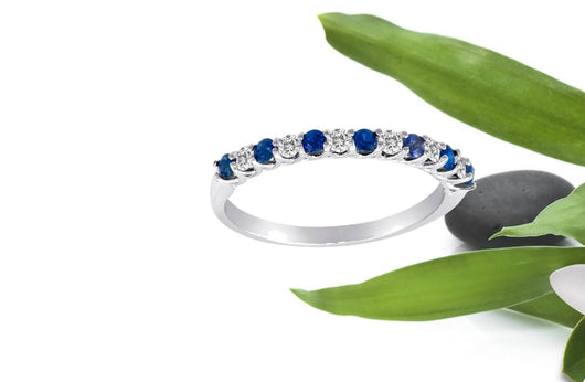 Stackable Sapphire & Diamond Ring Trellis Setting 13 Stones 14kt. White or Yellow Gold