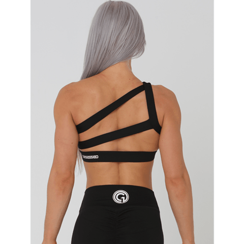 Alena Crop Sports Bra - Black by Obsessed Gymwear | MAK Fitness