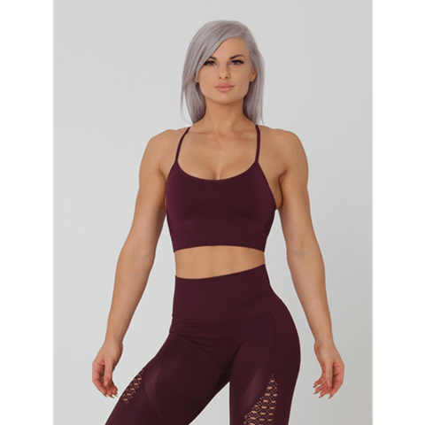 Aurora Crop Sports Bra - Maroon by Obsessed Gymwear | MAK Fitness
