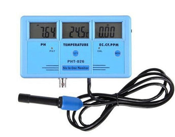 PHT-026 Pro 6 in 1 Rechargeable Multifunction LCD Digital Meter Water Quality Tester EC CF TDS ppm PH C° F°