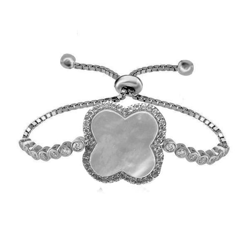 MOTHER OF PEARL CLOVER ADJUSTABLE CZ BRACELET