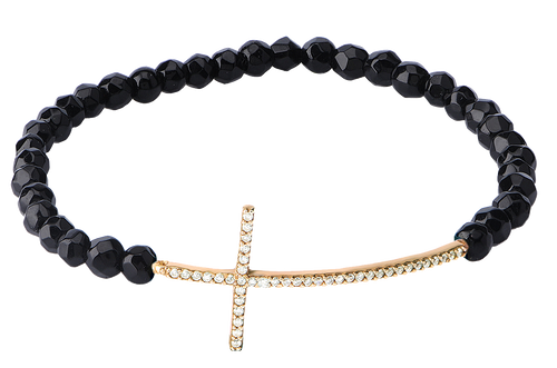 SIDEWAYS STRETCH THIN CROSS BRACELET