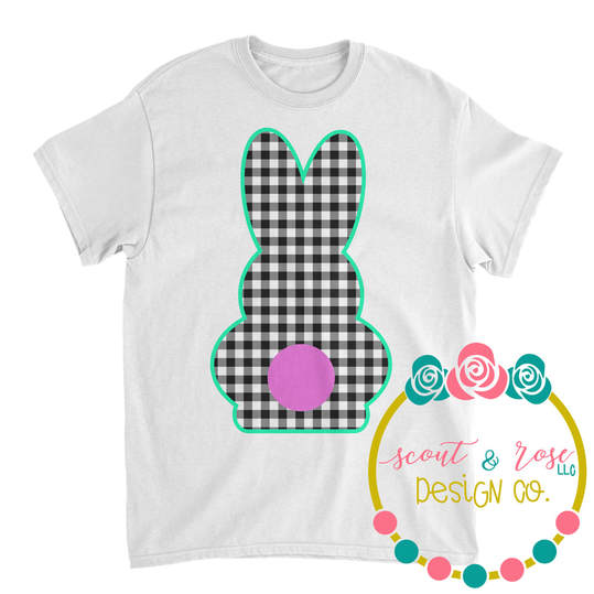 Gingham Easter Bunny SVG DXF PNG